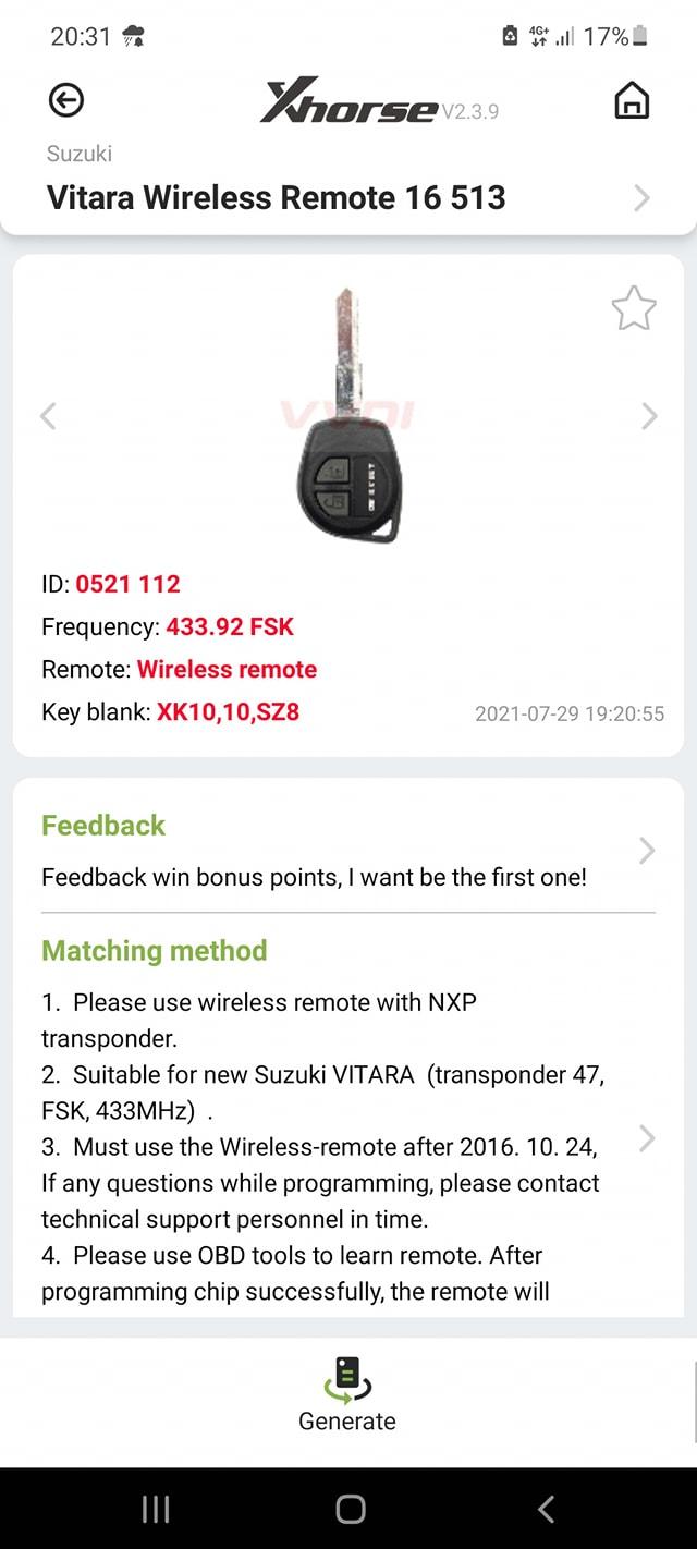 xhorse-key-tool-Suzuki-Vitara-2018-add-key